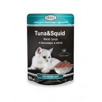Влажный корм для кошек Филе тунца и кальмара в желе Gina Tuna & Squid 85 гр