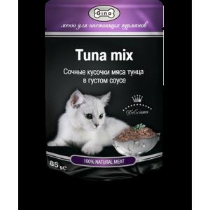 Корм для кошек Тунец с в густом соусе Gina (Джина)  Tuna mix 85 гр