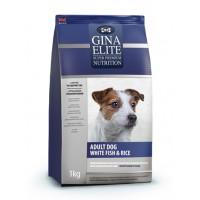 Полнорационный гипоаллергенный корм высшей категории качества для взрослых собак с белой рыбой и рисом Gina (Джина) EliteAdult Dog White fish & Rice